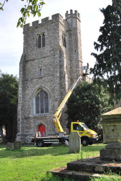 All Saints Church Tower being inspected